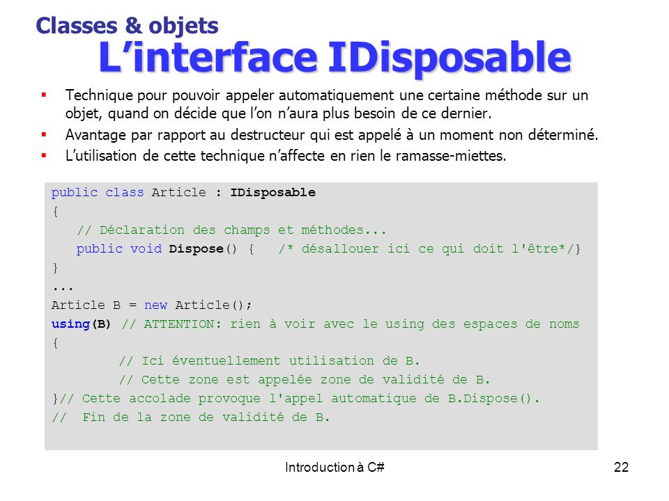 L'interface IDisposable