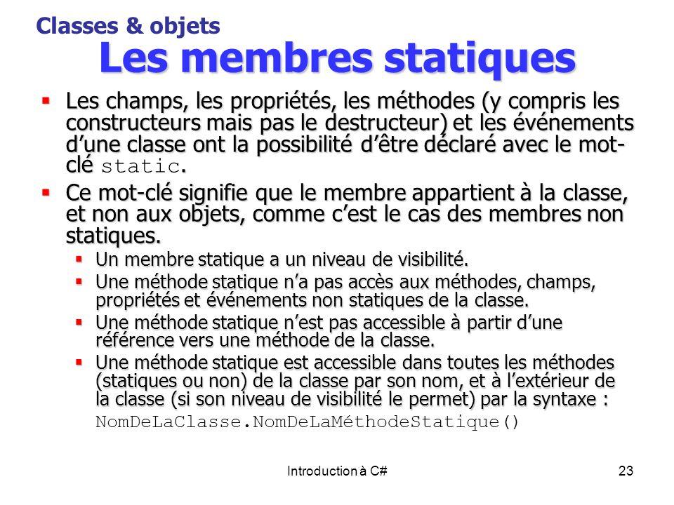 Les membres statiques Classes & objets