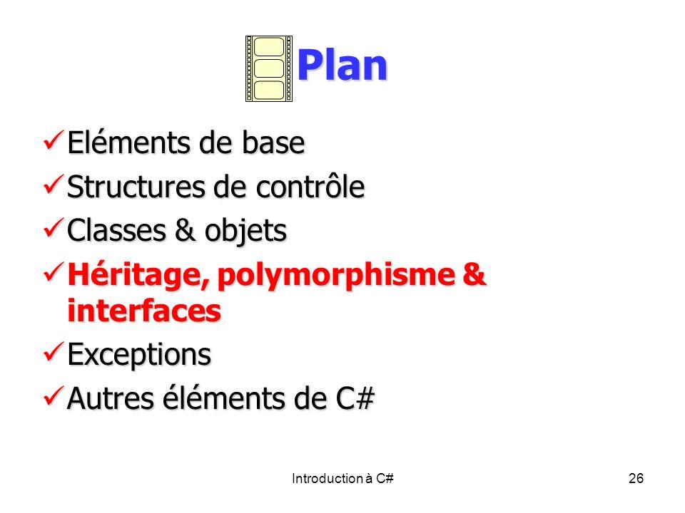 Plan Eléments de base Structures de contrôle Classes & objets