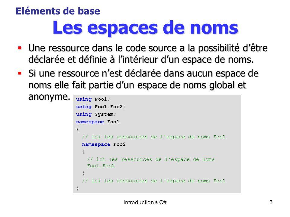 Les espaces de noms Eléments de base