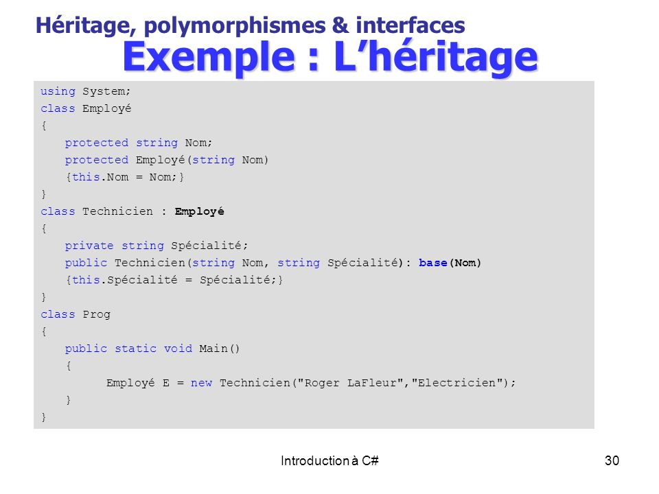 Exemple : L'héritage Héritage, polymorphismes & interfaces
