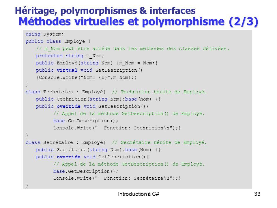 Méthodes virtuelles et polymorphisme (2/3)