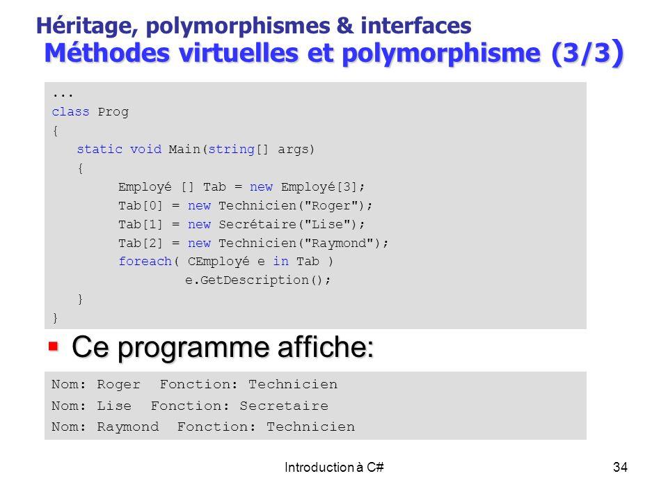 Méthodes virtuelles et polymorphisme (3/3)