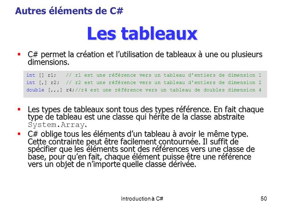 Les tableaux Autres éléments de C#