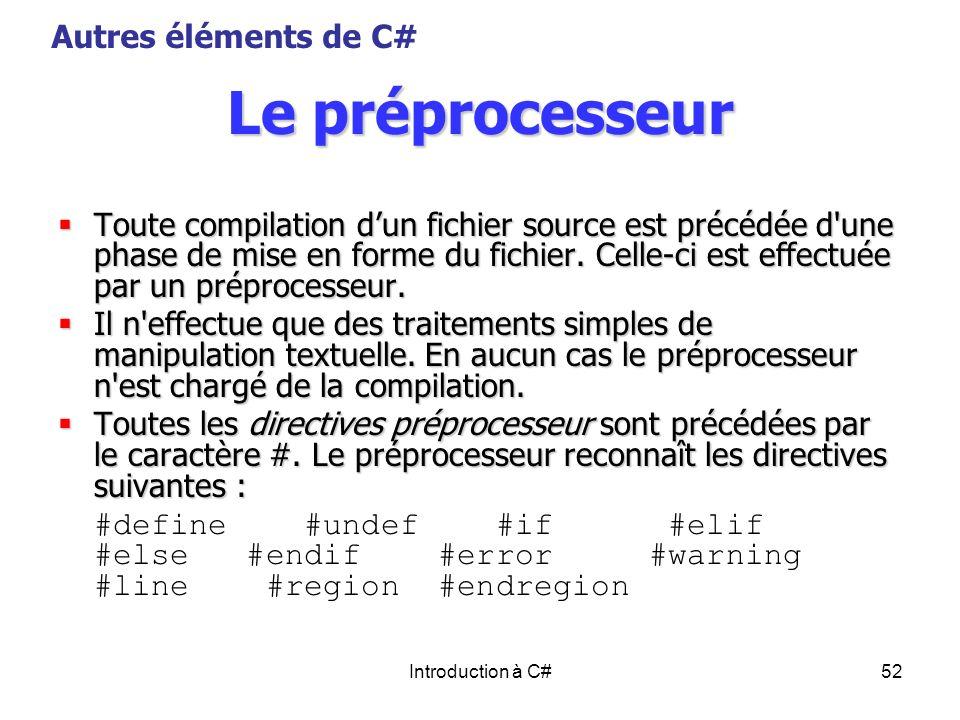 Le préprocesseur Autres éléments de C#