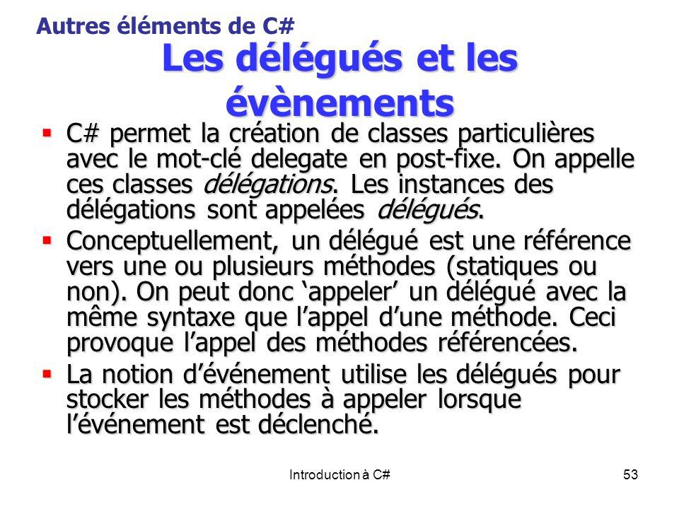 Les délégués et les évènements