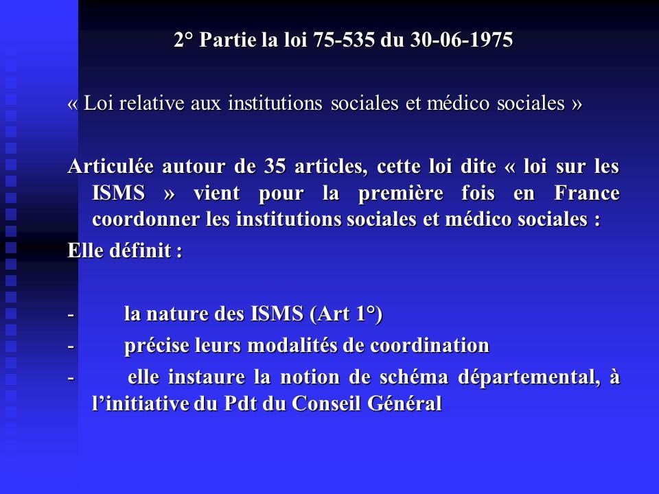 2° Partie la loi 75-535 du 30-06-1975 « Loi relative aux institutions sociales et médico sociales »