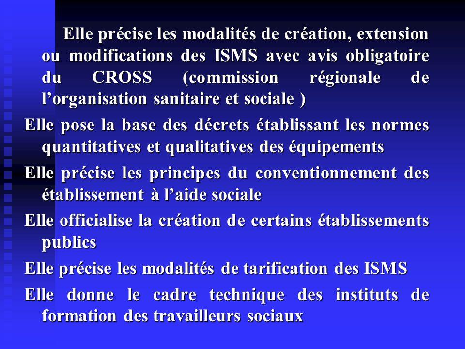 Elle précise les modalités de création, extension ou modifications des ISMS avec avis obligatoire du CROSS (commission régionale de l'organisation sanitaire et sociale )