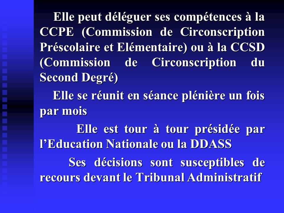 Elle peut déléguer ses compétences à la CCPE (Commission de Circonscription Préscolaire et Elémentaire) ou à la CCSD (Commission de Circonscription du Second Degré)