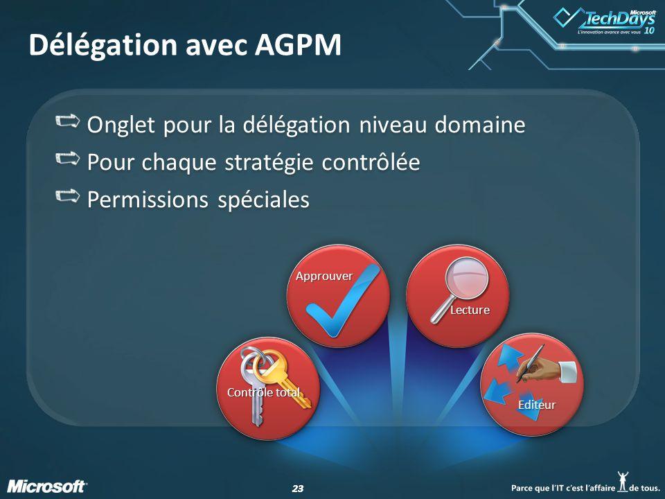 Délégation avec AGPM Onglet pour la délégation niveau domaine