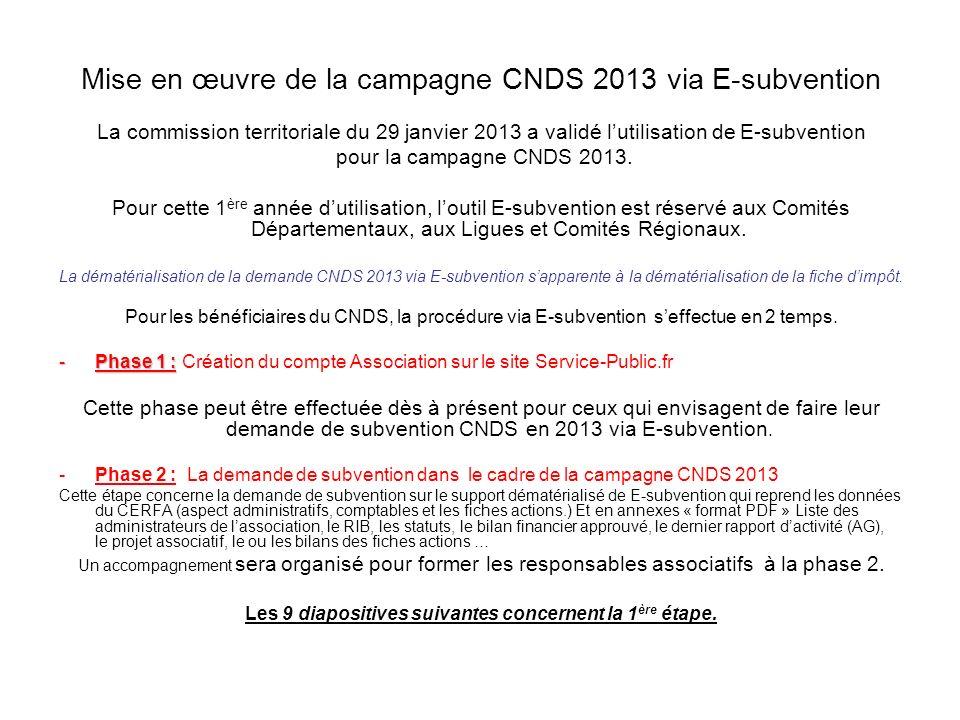 Mise en œuvre de la campagne CNDS 2013 via E-subvention