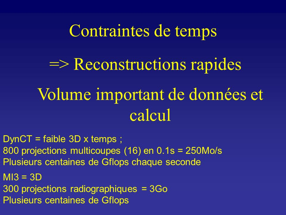 => Reconstructions rapides