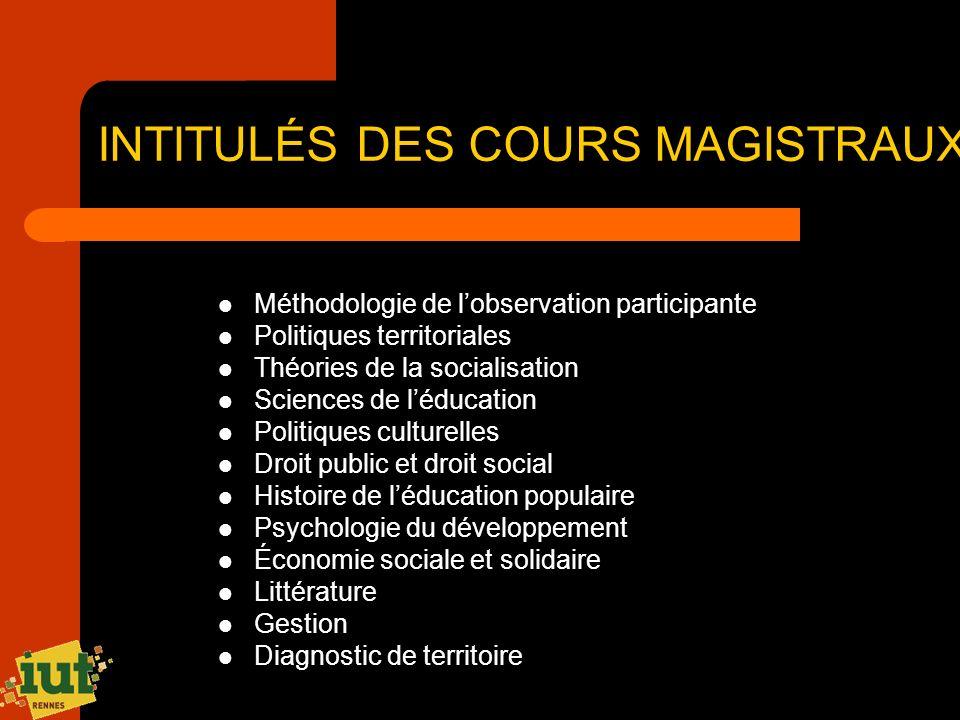 INTITULÉS DES COURS MAGISTRAUX