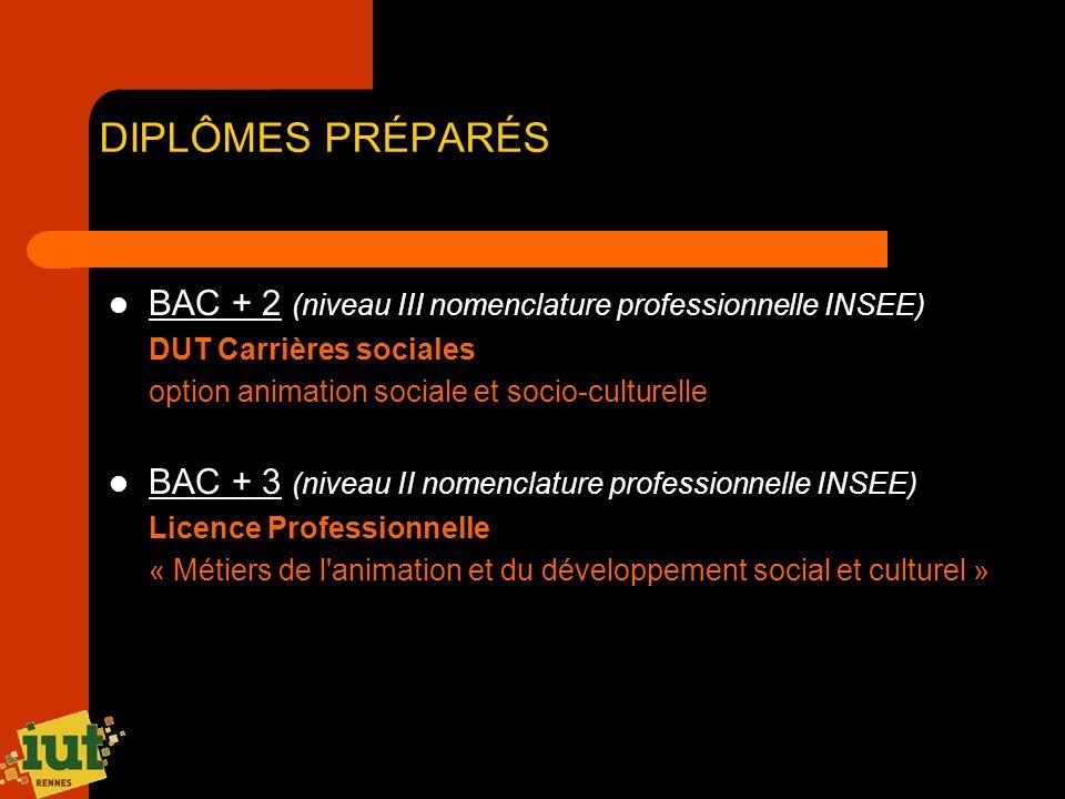 DIPLÔMES PRÉPARÉS BAC + 2 (niveau III nomenclature professionnelle INSEE) DUT Carrières sociales. option animation sociale et socio-culturelle.