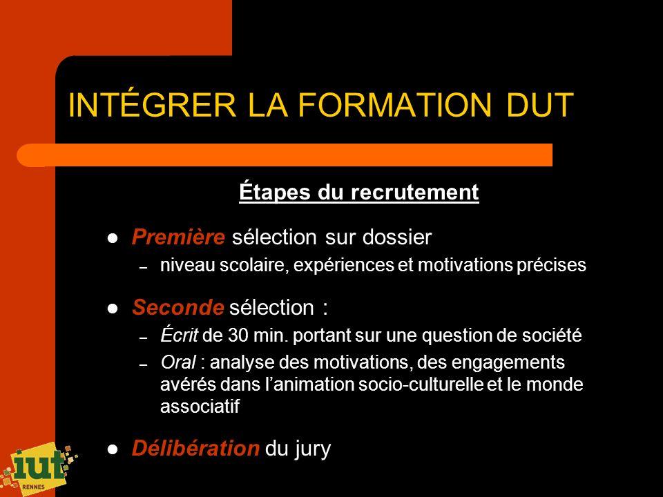 INTÉGRER LA FORMATION DUT
