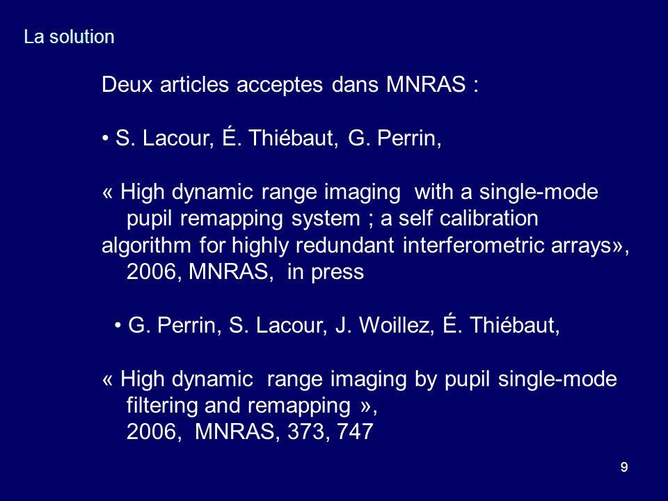 Deux articles acceptes dans MNRAS :