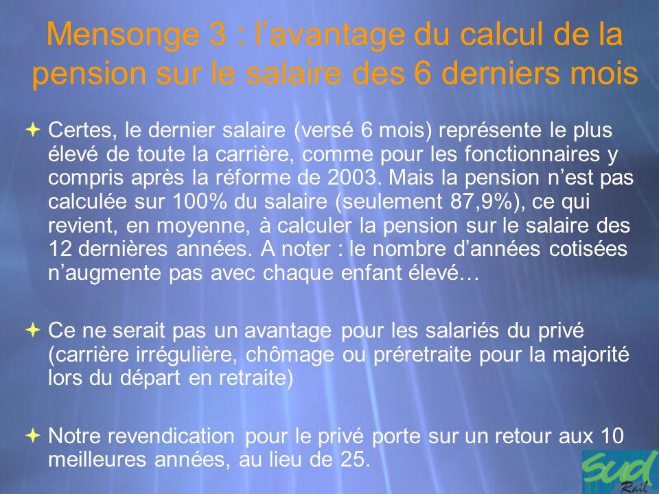 Mensonge 3 : l'avantage du calcul de la pension sur le salaire des 6 derniers mois