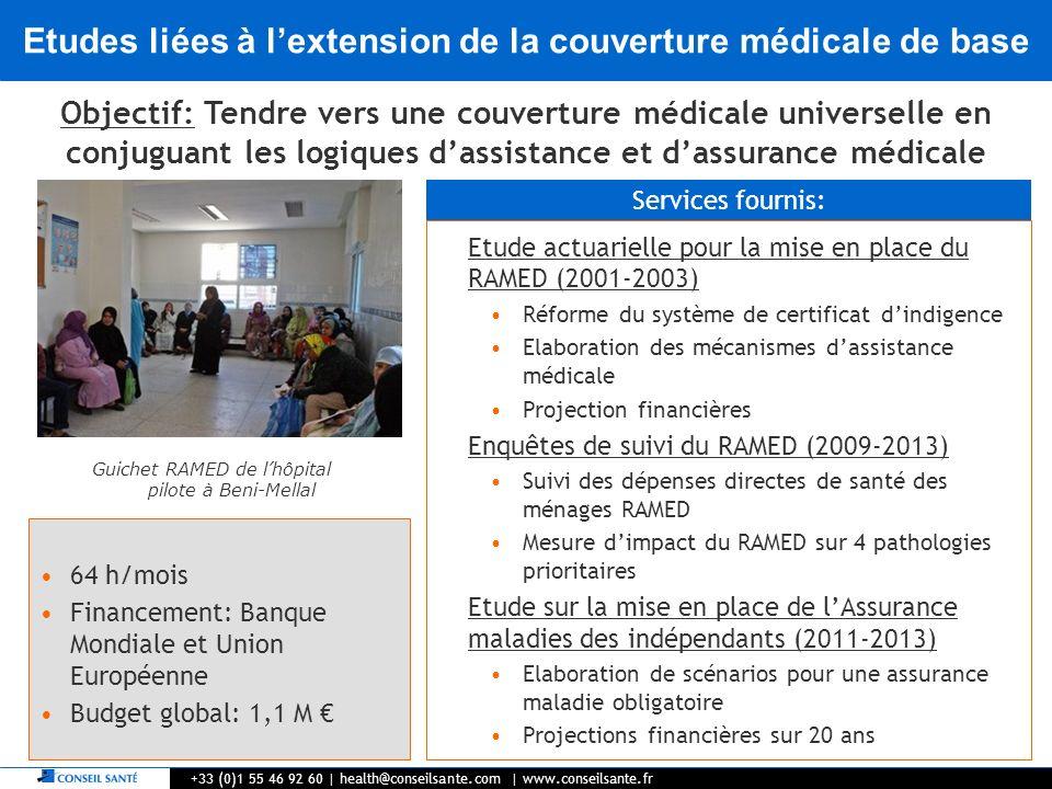 Etudes liées à l'extension de la couverture médicale de base