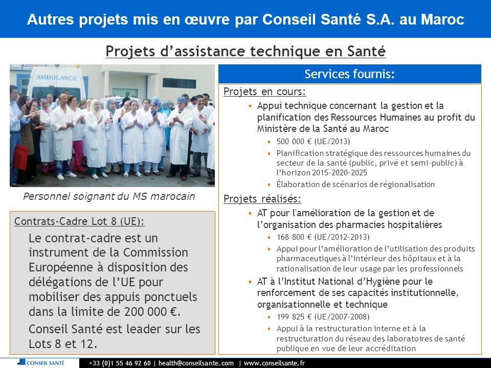Autres projets mis en œuvre par Conseil Santé S.A. au Maroc