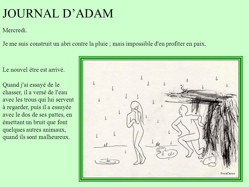 JOURNAL D'ADAM Mercredi