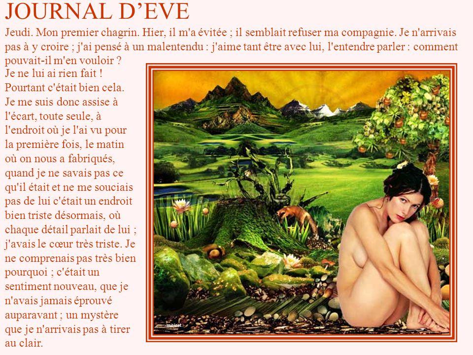 JOURNAL D'EVE Jeudi. Mon premier chagrin