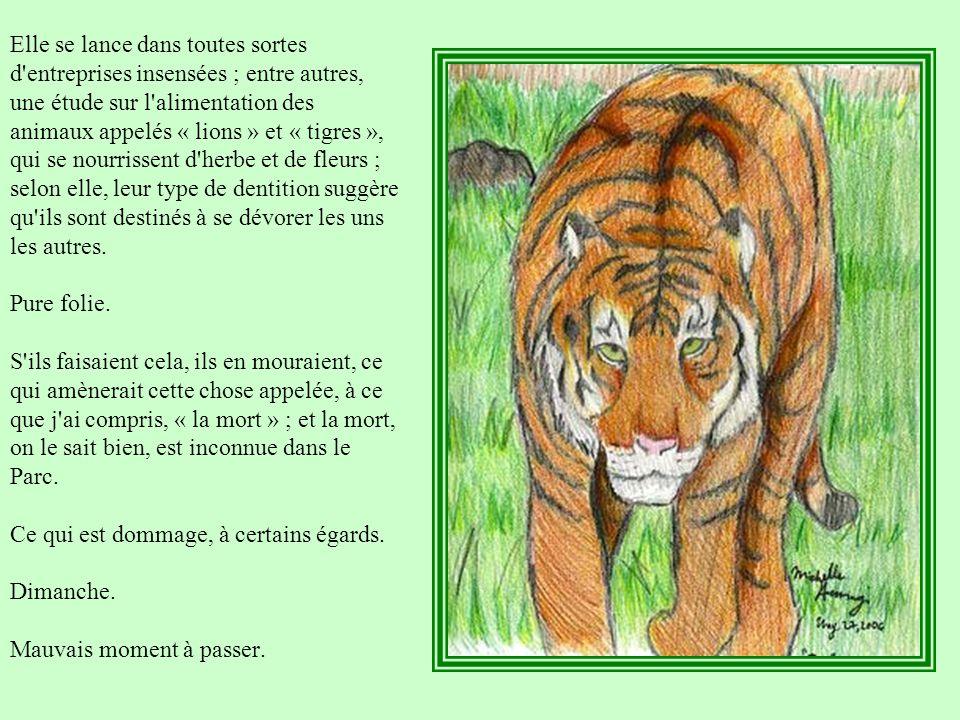 Elle se lance dans toutes sortes d entreprises insensées ; entre autres, une étude sur l alimentation des animaux appelés « lions » et « tigres », qui se nourrissent d herbe et de fleurs ; selon elle, leur type de dentition suggère qu ils sont destinés à se dévorer les uns les autres.
