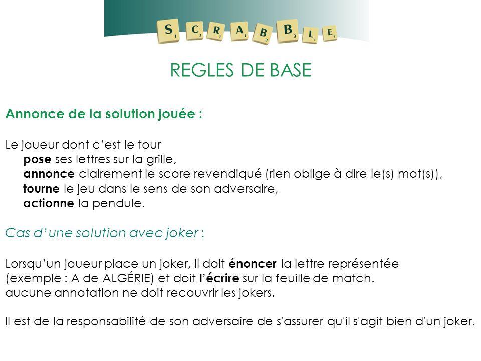 REGLES DE BASE Annonce de la solution jouée :