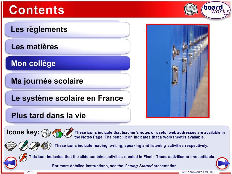 Mon collège Grammatical forms used in this section include: Il y a