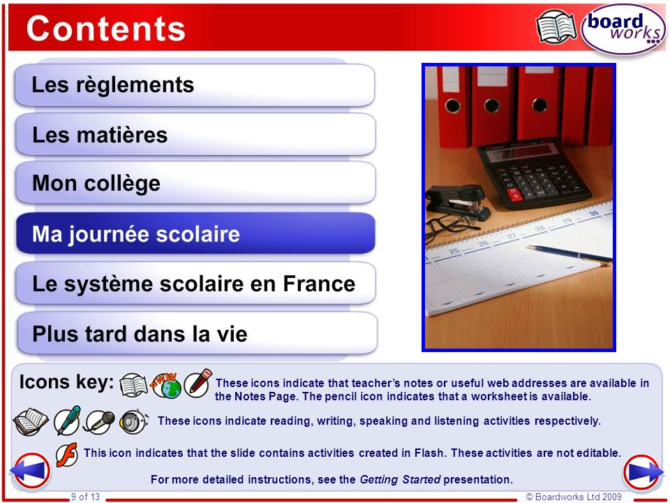 Ma journée scolaire Grammatical forms used in this section include: