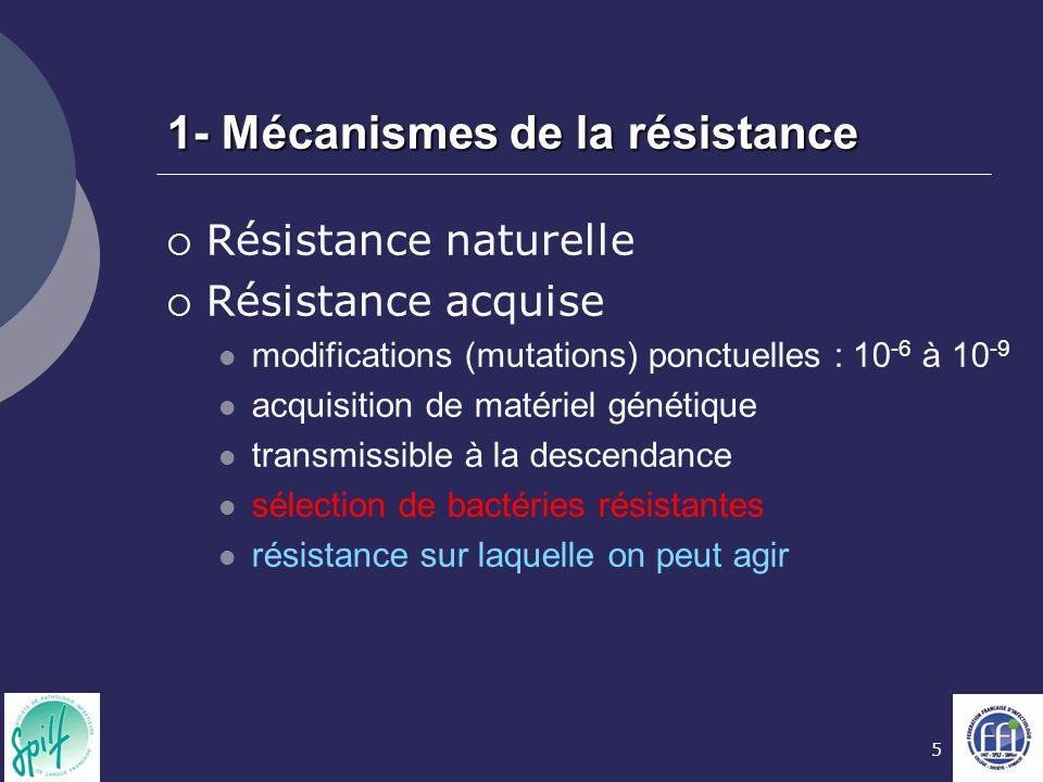 1- Mécanismes de la résistance