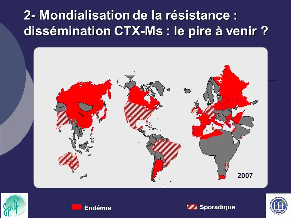 2- Mondialisation de la résistance : dissémination CTX-Ms : le pire à venir