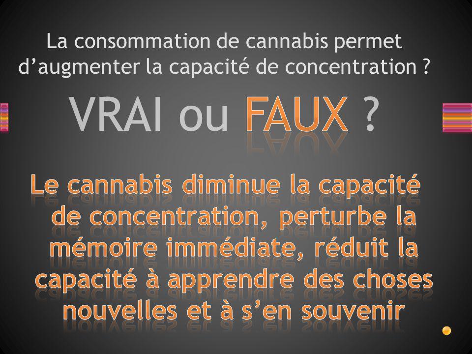La consommation de cannabis permet d'augmenter la capacité de concentration