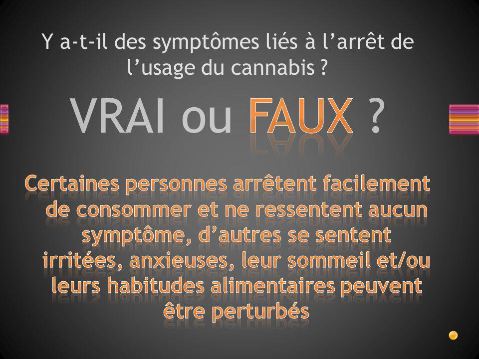 Y a-t-il des symptômes liés à l'arrêt de l'usage du cannabis