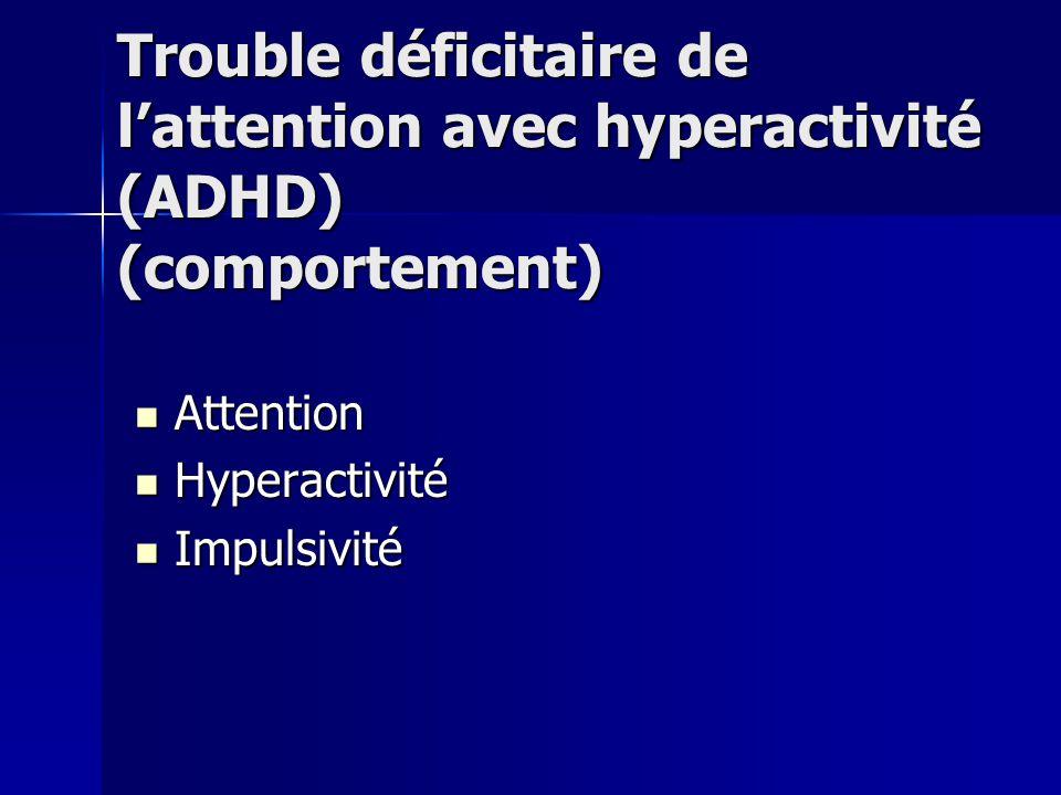 Trouble déficitaire de l'attention avec hyperactivité (ADHD) (comportement)