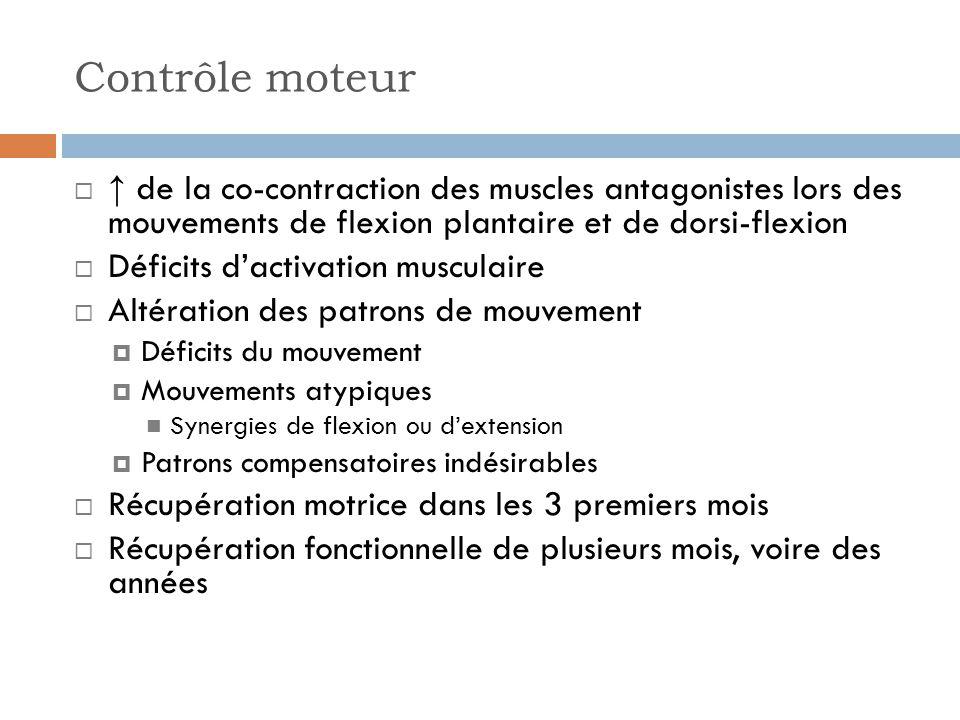 Contrôle moteur ↑ de la co-contraction des muscles antagonistes lors des mouvements de flexion plantaire et de dorsi-flexion.