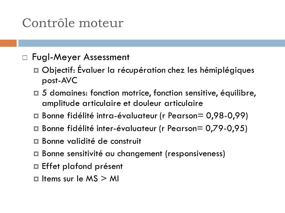 Contrôle moteur Fugl-Meyer Assessment
