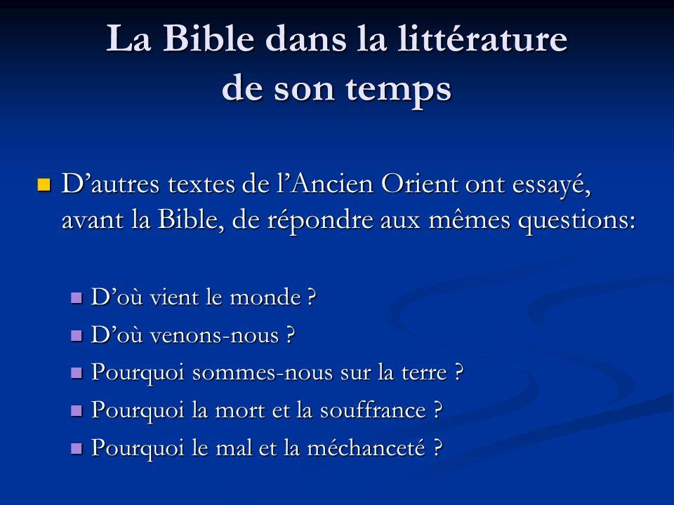 La Bible dans la littérature de son temps