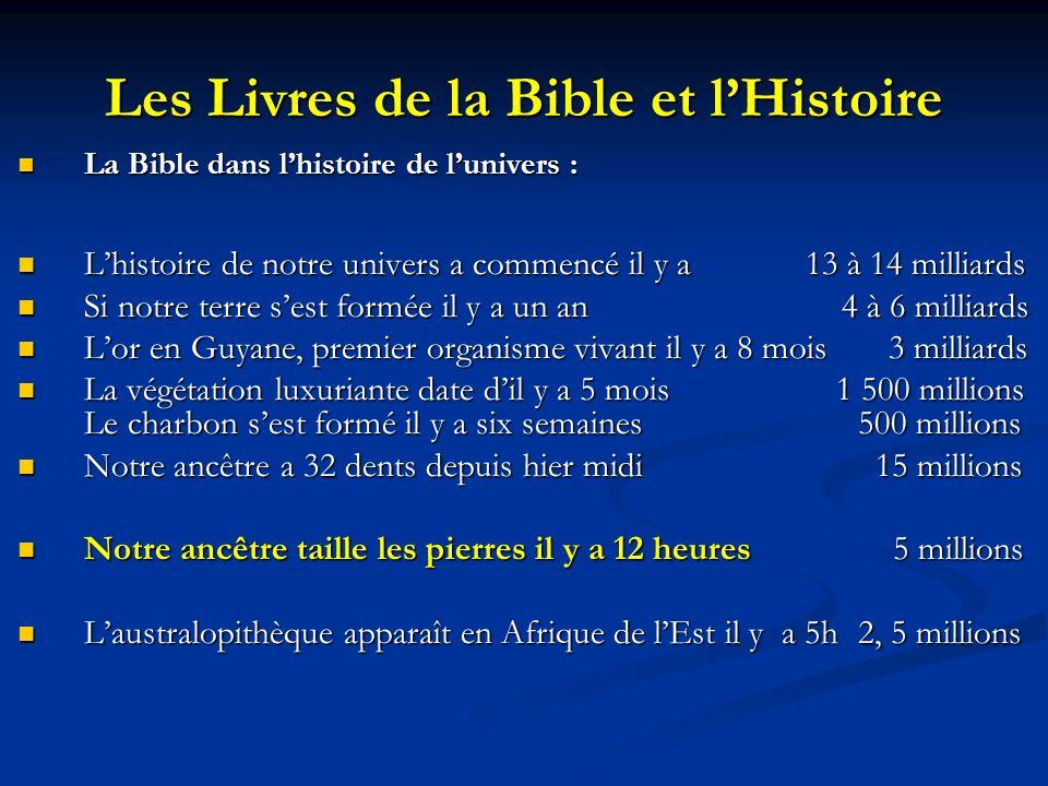 Les Livres de la Bible et l'Histoire