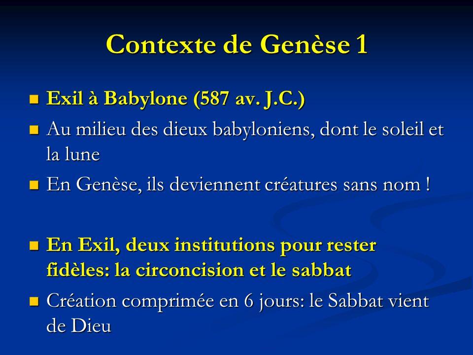 Contexte de Genèse 1 Exil à Babylone (587 av. J.C.)