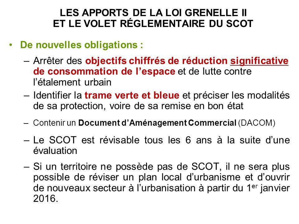 LES APPORTS DE LA LOI GRENELLE II ET LE VOLET RÉGLEMENTAIRE DU SCOT