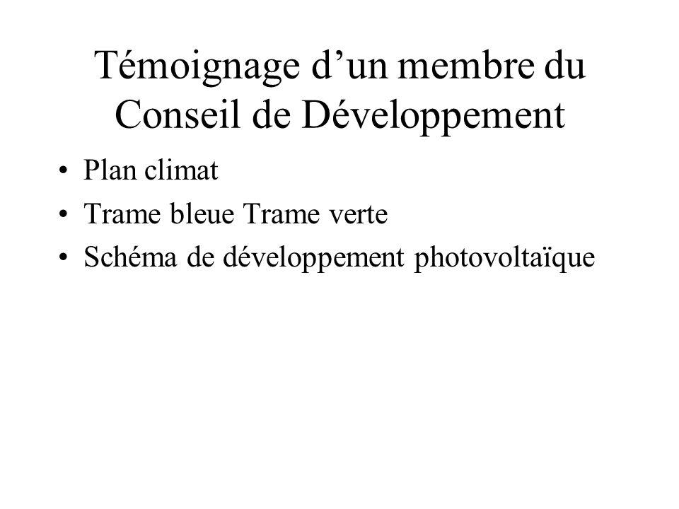 Témoignage d'un membre du Conseil de Développement