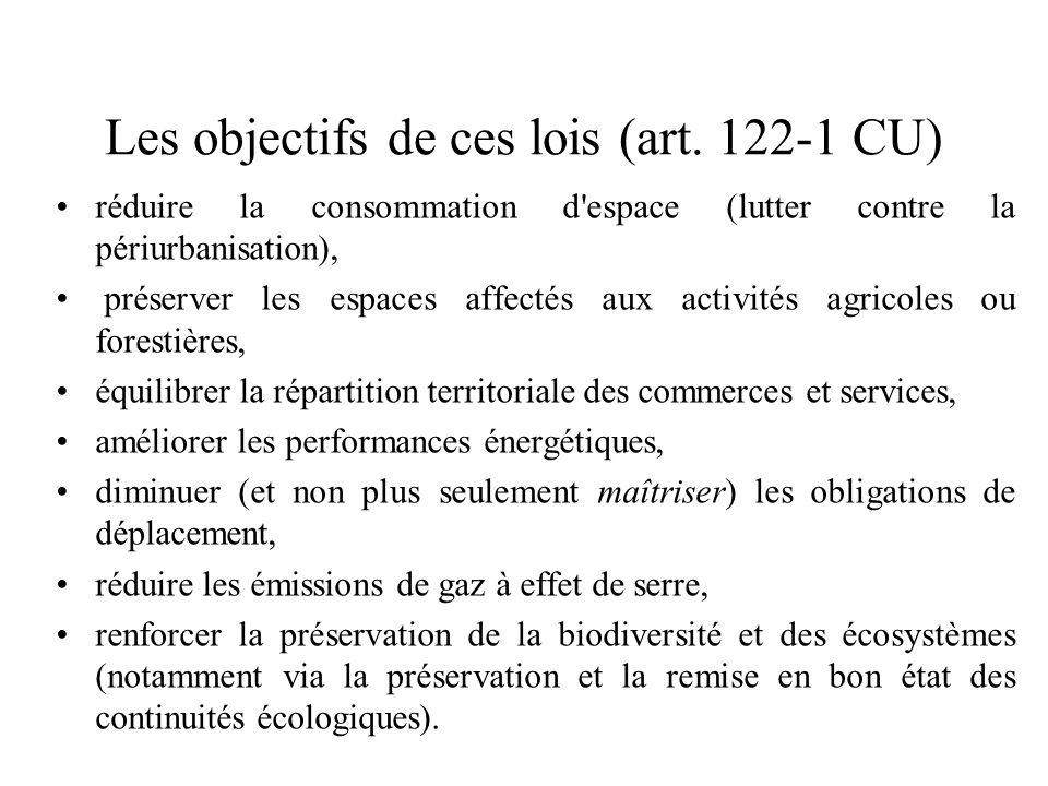 Les objectifs de ces lois (art. 122-1 CU)