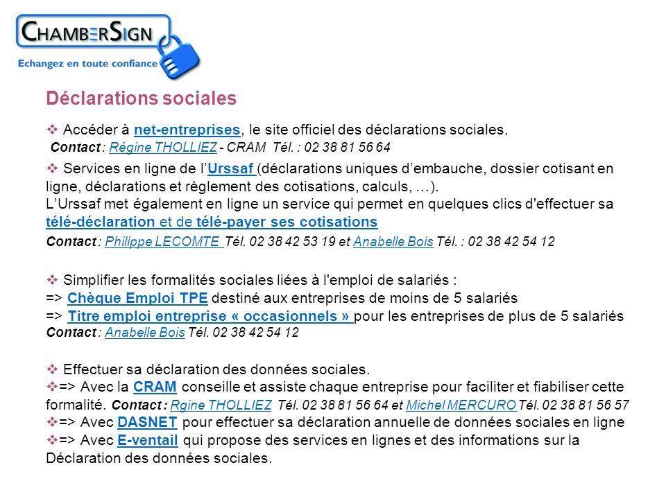 Déclarations sociales
