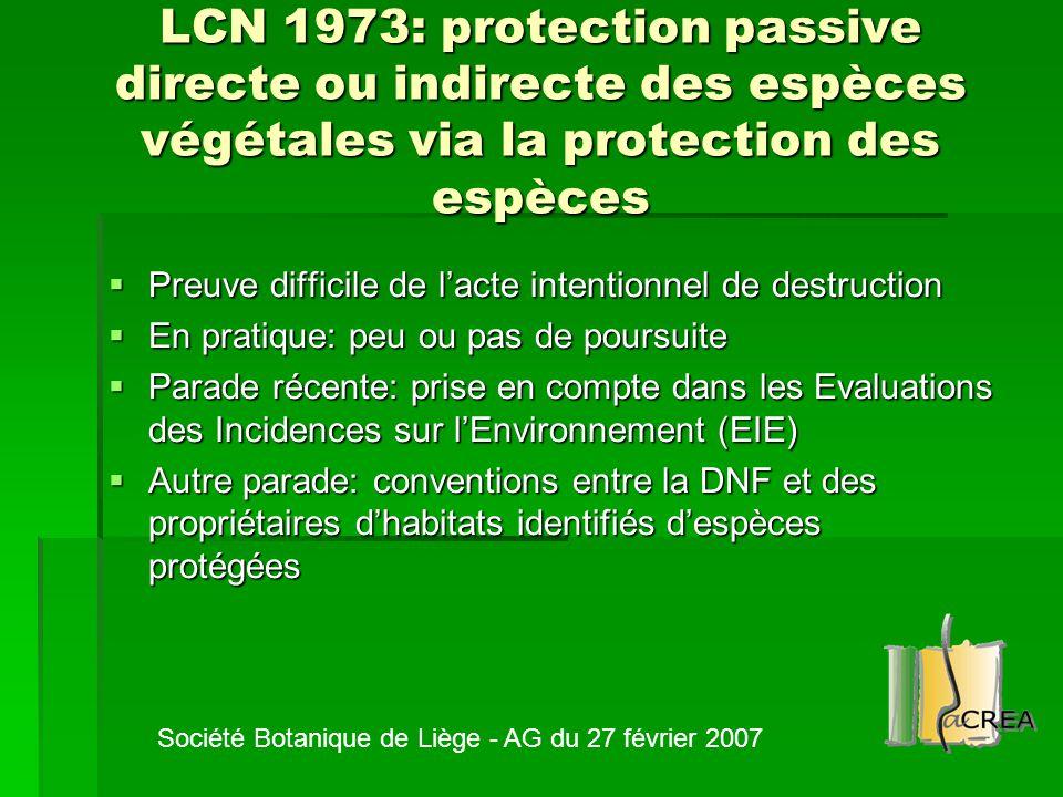 LCN 1973: protection passive directe ou indirecte des espèces végétales via la protection des espèces