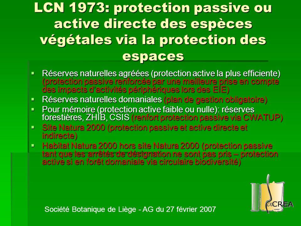 LCN 1973: protection passive ou active directe des espèces végétales via la protection des espaces