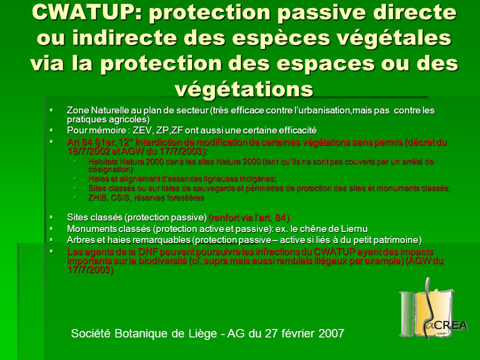 CWATUP: protection passive directe ou indirecte des espèces végétales via la protection des espaces ou des végétations