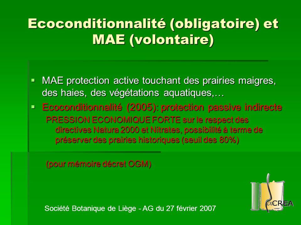 Ecoconditionnalité (obligatoire) et MAE (volontaire)