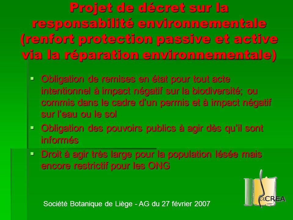 Projet de décret sur la responsabilité environnementale (renfort protection passive et active via la réparation environnementale)