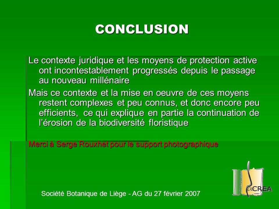 CONCLUSION Le contexte juridique et les moyens de protection active ont incontestablement progressés depuis le passage au nouveau millénaire.