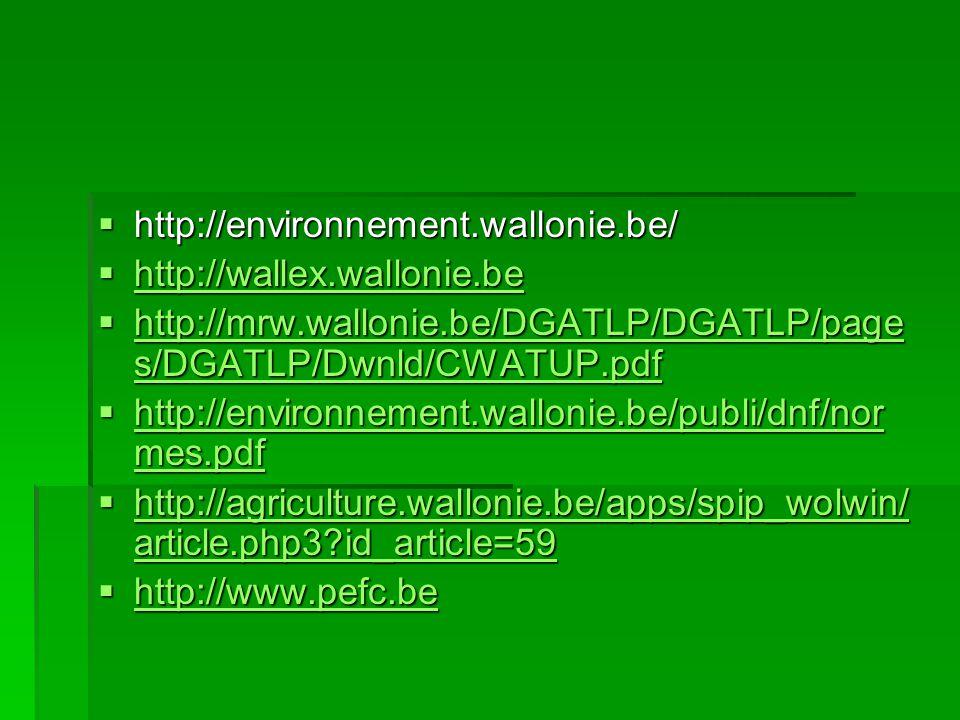 http://environnement.wallonie.be/ http://wallex.wallonie.be. http://mrw.wallonie.be/DGATLP/DGATLP/pages/DGATLP/Dwnld/CWATUP.pdf.